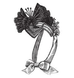Ladys bonnet ties vintage engraving vector