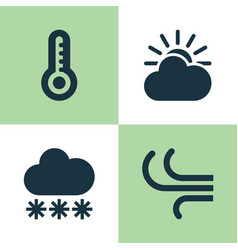 Nature icons set collection of temperature vector
