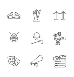 Nine cinema icons vector