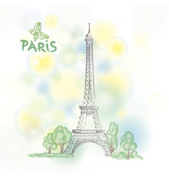 paris sign famous eiffel tower travel france vector image vector image