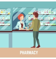Pharmacy drugstore with pharmacist and customer vector