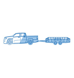 pickup truck trailer cargo shipping image vector image