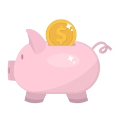 Piggy bank icon flat design pig moneybox vector