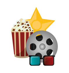 Set cinema pop corn reel film 3d glasses award vector