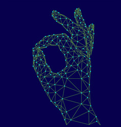 sign ok finger signal agreement 3d low poly model vector image