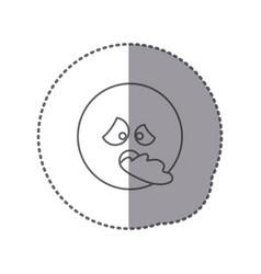 Sticker silhouette emoticon face sick expression vector