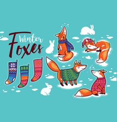 Stickers collection with cartoon foxes in cozy vector
