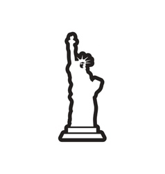 Stylish black and white icon american statue of vector
