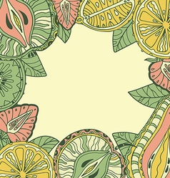 template with different fruits vector image vector image