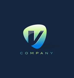 v letter logo oval shape modern design vector image vector image