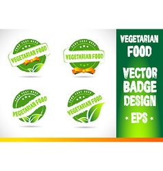 Vegetarian food badge logo vector