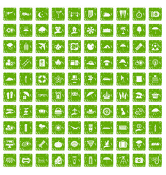 100 umbrella icons set grunge green vector