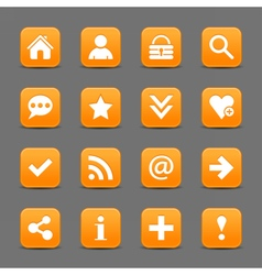 Orange satin icon web button with white basic sign vector