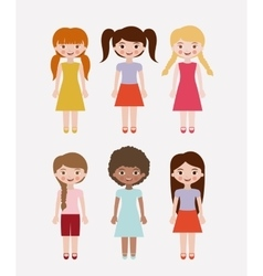 Isolated girls kids design vector