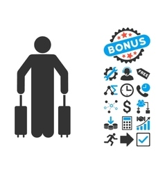 Passenger baggage flat icon with bonus vector