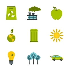 Conservation icons set flat style vector