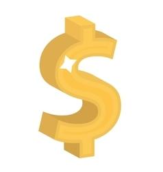 Dollar sign icon flat design Gold figure vector image