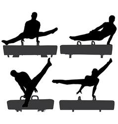 Gymnast on Pommel Horse Silhouette vector image