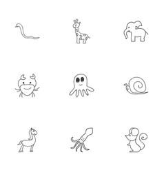 Set of 9 editable animal doodles includes symbols vector