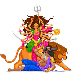 Happy Dussehra with goddess Durga vector image