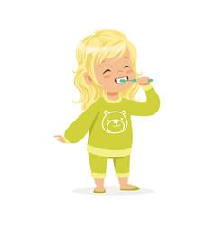 Beautiful cartoon blonde girl in a green pajamas vector