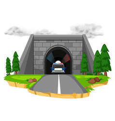 Police car in the tunnel vector