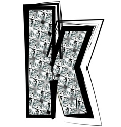 Diamond font letter k vector
