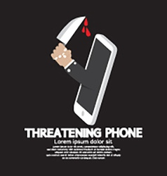 Hand with knife threatening phone concept vector