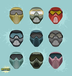 Paintball protection mask set vector