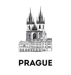 The sketch of old town square in prague vector