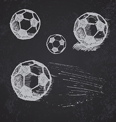 Football soccer ball sketch set on blackboard vector