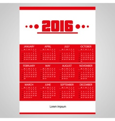 2016 simple business red wall calendar with white vector
