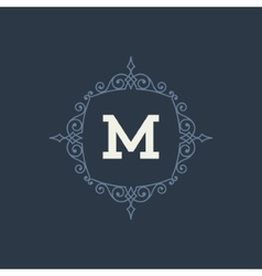 Luxury logo template flourishes calligraphic vector
