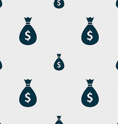Dollar money bag icon sign seamless pattern with vector