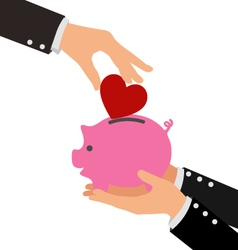 Business hand putting red heart into a piggy bank vector