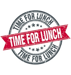Time for lunch red round grunge vintage ribbon vector