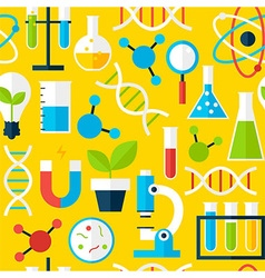 Yellow seamless pattern science education vector