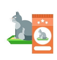 Angry cat on the toilet as commercial vector