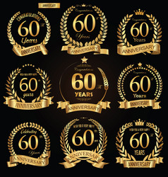 anniversary golden retro laurel wreath vector image vector image