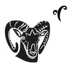 Black silhouette of aries are on white background vector