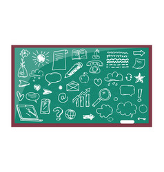 blackboard with drawn images vector image vector image