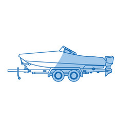 Boat with trailer transport maritime image vector