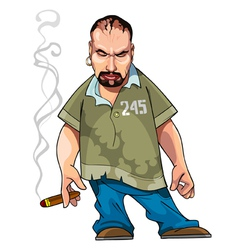 Cartoon gangster gloomy man with a cigar vector