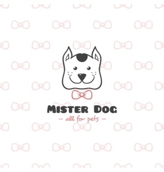 Cartoon style pet shop logo hand drawn vector