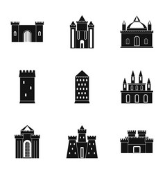 castles icon set simple style vector image vector image