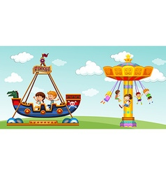 Children riding on pirate ship and swing vector