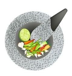 Chili garlic and lime in black granite mortar vector
