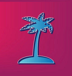 Coconut palm tree sign blue 3d printed vector