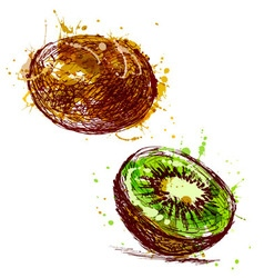 Colored hand sketch kiwi vector image