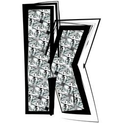 Diamond font letter k vector